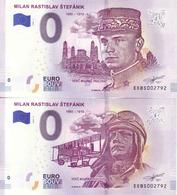 0 EURO Slovakia, Général Français Milan Rastislav Štefánik, 4.May 2019 100ème Anniversaire De La Mort, 2 Mêmes Numéros - Essais Privés / Non-officiels