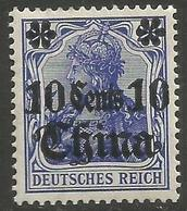 German Offices China - 1913 Germania Overprint  & Surcharge 10c/20pf MH *  Sc 50 - Offices: China