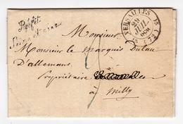 Lettre Versailles 1830 Préfecture Préfet Seine Et Oise Marquis Lau D'Allemans Milly La Forêt - Postmark Collection (Covers)
