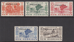 1953 New Hebrides  Postage Dues Complete Set Of 5  LIGHTLY HINGED - Leyenda Inglesa
