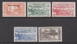1957 New Hebrides  Postage Dues Complete Set Of 5  LIGHTLY HINGED - Leyenda Inglesa