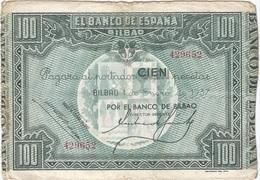 España 100 Pesetas 1-1-1937 Euzkadi Pk-s 565 A Banco De Bilbao Ref 13 - [ 2] 1931-1936 : República