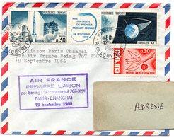 AVION = PARIS 01 1966 = CACHET ROND + Tampon PREMIERE LIAISON AIR-FRANCE PARIS SHANGHAI / CHANGHAI - Premiers Vols