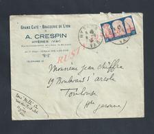 LETTRE COMMERCIALE SUR TIMBRE A. CRESPIN GRAND CAFÉ BRASSERIE DE LYON À HYÈRES : - 1900 – 1949