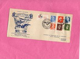 F0605 - Enveloppe Timbrée - PARIS - SAÏGON - Les Ailes Brisées - Cinquantenaire Du Premier Vol Mécanique SATORY 14 Oct - Timbres