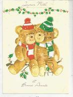 Carte De Vœux. Joyeux Noël Et Bonne Année. Deux Oursons En écharpes Et Bonnets. - Anno Nuovo