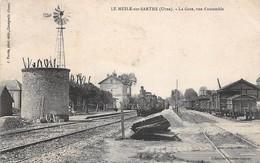 61. N°55113.le Mesle Sur Sarthe.la Gare.vue D'ensemble.train Locomotive - France