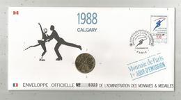 """Enveloppe Officielle """"timbre Médaille"""" Premier Jour,J.O. D'hiver ,1988 , CALGARY ,4 Scans,frais Fr : 1.95 E - Professionnels / De Société"""