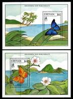 Grenada 1990 Butterflies MS Set MNH (SG MS2099a+b) - Grenada (1974-...)