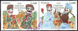 Oblitération Cachet à Date Sur Timbre De France N° 5216 Et 5217 En Paire  - Bicentenaire Du Guignol Des Champs-Élysées - Used Stamps