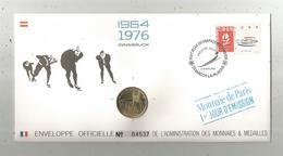 """Enveloppe Officielle """"timbre Médaille"""" Premier Jour,J.O. D'hiver ,1964 , 1976 , INNSBRUCK ,4 Scans,frais Fr : 1.95 E - Professionnels / De Société"""