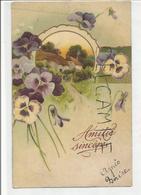 Amitié Sincère. Cottage Au Toit De Chaume En Médaillon. Pensées. - Cartes Postales