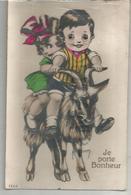 Je Porte Bonheur. Deux Enfants Sur Une Chèvre. Yeux En Relief. - Autres