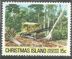CHRISTMAS ISLAND ISOLA DI NATALE INDIAN OCEAN 1980 PHOSPHATE INDUSTRY JUNGLE CLEARING CENT. 15c MNH - Christmas Island