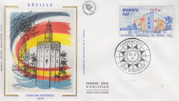 Enveloppe  FDC   1er  Jour    MONACO   Exposition  Universelle   SEVILLE   1992 - 1992 – Séville (Espagne)