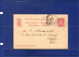 ##(DAN196)- Luxembourg 1896 - 10 Cent. Postal Card  To Florence - Italy - 1895 Adolphe Right-hand Side