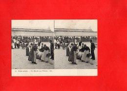 F0605 - Scènes Animées - Un Marché Aux Poissons - Cartes Stéréoscopiques