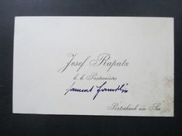 Sehr Alte Visitenkarte Um 1910 Österreich K.K. Postmeister Josef Rapatz Pörtschach Am See / Wörthersee - Visitenkarten