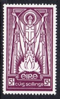 Ireland 1940-68 Definitives, E Wmk., 5/- Value, Chalky Paper, Hinged Mint, SG 124c - Unused Stamps