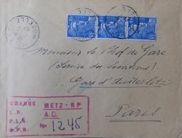 R1949/621 - 1945 - MARIANNE DE GANDON - N°718A (BANDE DE 3 TIMBRES) Sur ✉️ LR Avec Marque PROVISOIRE De METZ - France