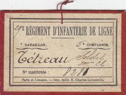 TRES RARE CARTON DE SERVICE .DU 29EME REGIMENT D INFANTERIE DE LIGNE.5EME COMPAGNIE.1926. 2EME CLASSE.T.B.ETAT - Documenti