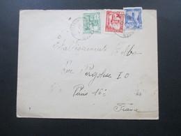 Frankreich Kolonie 1937 Tunesien Beleg Mit 3 Marken / Dreifarben-Frankatur Nassen - Paris Mit Ak Stempel - Tunesien (1888-1955)