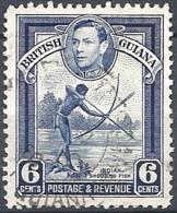 British Guyana, 1938 KGVI & Indian Shooting Fish, 6c # S.G. 311 - Michel 179 - Scott 233  USED - British Guiana (...-1966)