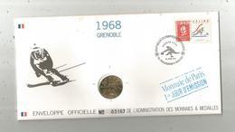 """Enveloppe Officielle """"timbre Médaille"""" Premier Jour,J.O. D'hiver ,1968, GRENOBLE ,4 Scans,frais Fr : 1.95 E - Professionnels / De Société"""