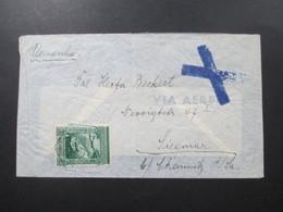 Portugal / Afrika 1938 Imperio Colonial Portugues Mocambique Luftpost Nach Chemnitz Via Aerea Mit Blauem Kreuz Stempel - Afrique Portugaise