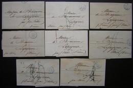 Lot De 8 Lettres De Paris, Petit Cachet Bleu Entre 1837 Et 1841à Mr De Beaumont à Lapeyrouse Par Saint Vallier Ou Moras - Marcophilie (Lettres)