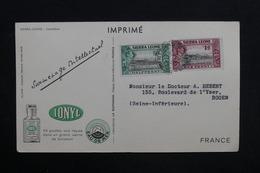 SIERRA LEONE - Carte Commerciale Médicale ( Biomarine De Dieppe ) Pour Rouen En 1955 - L 28915 - Sierra Leone (...-1960)