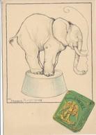 CARTE PUB PUBLICITE CIGARETTES SAINT ST MICHEL ADVERTISING CARD ILLUSTRATEUR GERMAINE HAGEMANS ELEPHANT QUI FUME - Publicité