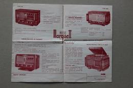 Publicité Marquett Récepteurs à Haute Musicalité, Radio-Phono, Années 1950 - Frankrijk