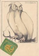 CARTE PUB PUBLICITE CIGARETTES SAINT ST MICHEL ADVERTISING CARD ILLUSTRATEUR GERMAINE HAGEMANS HIBOUX 2 QUI FUME - Publicité