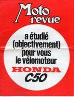 1 Dépliant Moto Revue Concernant Le Vélomoteur Honda C50 Format A4 - Motos