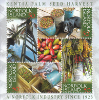2007 Norfolk Island Palm Seed Harvest Trees  Souvenir Sheet  Complete MNH - Norfolk Island