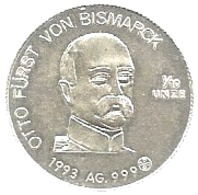 Otto Von Bismark, 1993, Ag. 1/10 Di Oncia, Cm. 2,4. - Adel