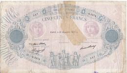 BILLETE DE FRANCIA DE 500 FRANCS DEL 31-12-1936    (BANKNOTE) BLEU - 1871-1952 Antiguos Francos Circulantes En El XX Siglo