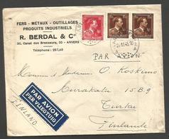 Belgium - XX. 1945 (2 Nov). Antwerpen - Finland, Turku (9 Nov 45). Air Multifkd Env Early Flemish Air Label Post Liberat - Belgio