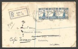 EIRE. 1931 (5 Aug). Dublin - Belgium, Ostende (8 Aug). Reg Multifkd Env 2p Blue Horiz Strip Of Three. Via Isdleworth. - Oblitérés