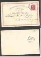 ICELAND. 1893 (13 May). Reikjavik - Germany (22 May). 10 Aur Red Stat Card Cds Arrival Cds. Proper Circulation. - Islande