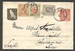 ICELAND. 1910 (5 Oct). Kukeir - Switzerland (14 Oct). 10 Aur Red Stat Lettersheet 3 Adtls Cds German Long Text Of Crusie - Islande