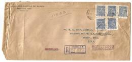 Mexico - XX. 1916. DF - USA, Tucson. Reg Multifkd Env Ferrocarril Pacifico Sud 10c Blue Perforated X5. Fine. - Mexique