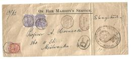 BC - Mauritius. 1893 (25 July). GPO - USA, Milwaukee, Wis (2 Sept). OHMS Reg Multifkd Env General Post Office Mauritius - Non Classificati