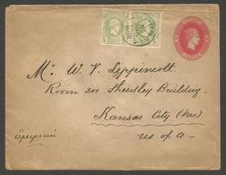 GREECE. 1898 (25 July). Athens - USA, Kansas City (22 Aug). 20l Red Stat Env 2 Adtl Small Hermes Head 5l Green Horiz Pai - Grèce