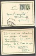 IRAQ. 1936 (22 Aug). Ramadi - Germany, Melsungen. Via Bagdag (24 Aug). 3f Green Arab Ovptd Stat Card Adtl. VF. - Iraq