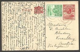 BC - Basutoland. 1934 (20 Feb). Hiaba, Bosigo - Austria, Vorailberg 1d Red Stat Card 1/2d Green Adtl Tied Cds. VF Scarce - Non Classés