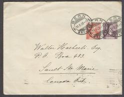 Switzerland - Stationery. 1909 (11 Feb). Bern - Canada, Sault Ste Marie, Ont (23 Feb). 15c Lilac Stat Env 10c Adtl Cds A - Switzerland
