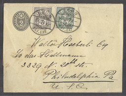 Switzerland - Stationery. 1907 (6 Dec). Bern - USA, Philadelphia. 2c Black Yellow Stat Complete Wrapper 2 Adtls 10c Rate - Switzerland