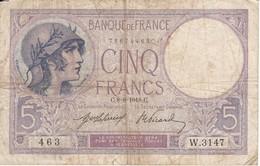 BILLETE DE FRANCIA DE 5 FRANCS DEL 8-8-1918 VIOLET  (BANKNOTE) - 1871-1952 Antiguos Francos Circulantes En El XX Siglo